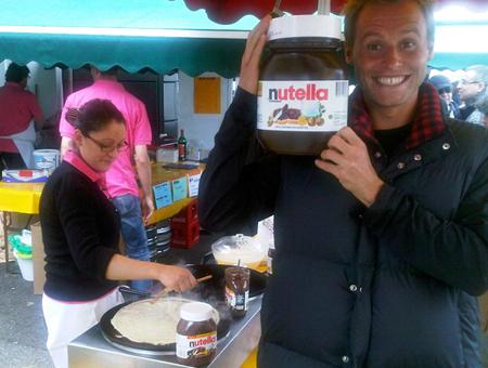 Mats met pot Nutella pasta