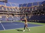 Caroline wozniacki warming up for her match she plays 2nd on Center court!