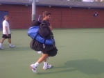 This time I did not loose the challenge but Andy's coach Dani, did and many more bags to carry!