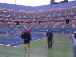 Sven Groeneveld and Jez Green walking across Arthur Ashe Stadium