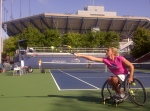 Esther Vergeer in full stretch in preparation for her Semi Final match today at the Us Open 2011!
