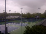 Looking out of the players lounge we get a good few of the conditions! During times like these I have seen more matches being lost in the lounge than on court because players loose so much energy with talking and eating poorly!