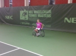 Esther in prep for her 2nd round in the round robin match of today against Aniek van Koot!