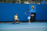 Op de baan met Esther Vergeer vlak voor haar halve finale wedstrijd