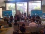 De lotingsceremonie voor het rolstoeltennistoernooi tijdens de Australian Open 2012. 'Top seeds' Esther Vergeer en Maikel Scheffers waren aanwezig, net als alle andere deelnemers van dit jaar