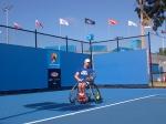 Nummer 1 van de wereld van het rolstoeltennis Maikel Scheffers tijdens zijn voorbereiding op zijn halve finale wedstrijd!