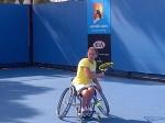 Esther Vergeer tijdens haar voorbereiding op haar halve finale